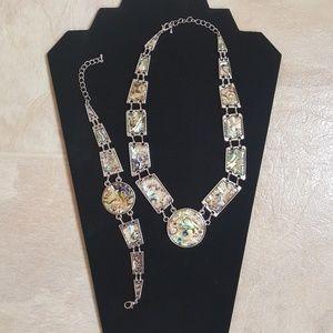 Abalone necklace and bracelet set.